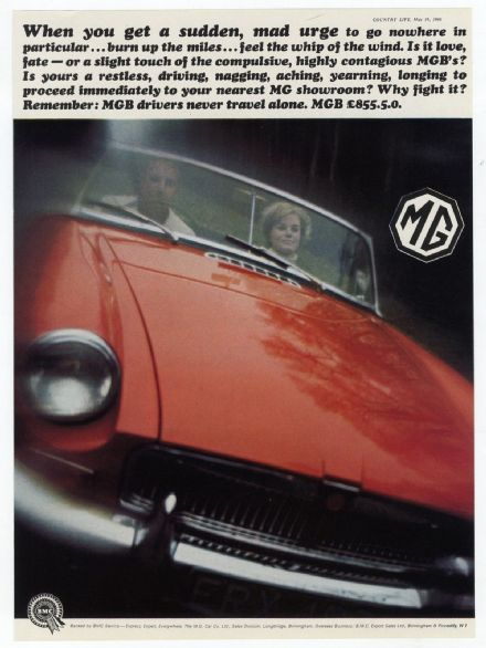 1966 CAR MGB Advert Sports Car Colour PRINT Spink Antique Caddies